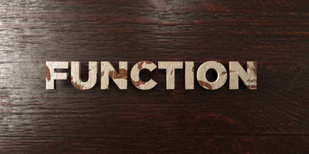 Function - grungy wooden headline on Maple  - 3D rendered royalty free stock image. This image can be used for an online website banner ad or a print postcard.