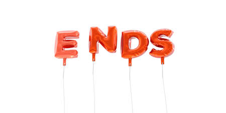 ENDS - word made from red foil balloons - 3D rendered.  Can be used for an online banner ad or a print postcard. Stock Photo