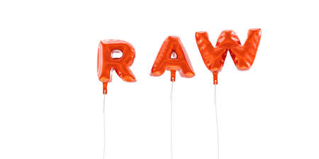 RAW - word made from red foil balloons - 3D rendered.  Can be used for an online banner ad or a print postcard.