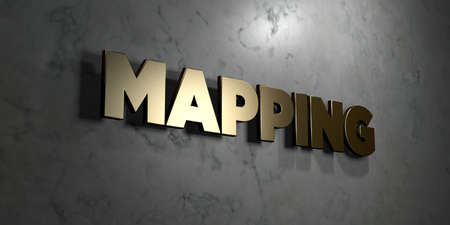 Mapping - Gold sign mounted on glossy marble wall  - 3D rendered royalty free stock illustration. This image can be used for an online website banner ad or a print postcard.