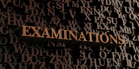 Examinations - Wooden 3D rendered letters/message.  Can be used for an online banner ad or a print postcard. Reklamní fotografie
