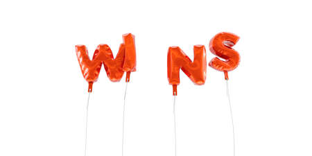 WINS - word made from red foil balloons - 3D rendered.  Can be used for an online banner ad or a print postcard.