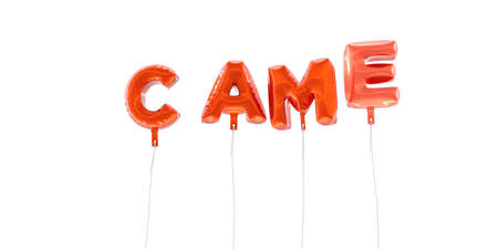 came: CAME - word made from red foil balloons - 3D rendered.  Can be used for an online banner ad or a print postcard.
