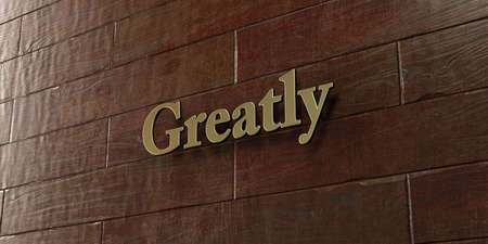 greatly: Greatly - Bronze plaque mounted on maple wood wall  - 3D rendered royalty free stock picture. This image can be used for an online website banner ad or a print postcard.