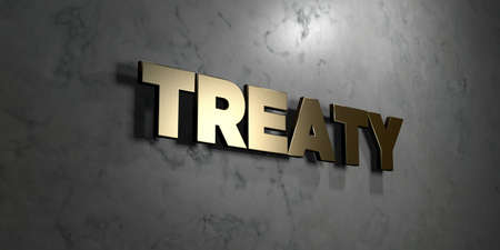 treaty: Treaty - Gold sign mounted on glossy marble wall  - 3D rendered royalty free stock illustration. This image can be used for an online website banner ad or a print postcard.