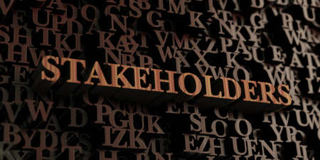 Stakeholders - Wooden 3D rendered lettersmessage.  Can be used for an online banner ad or a print postcard.