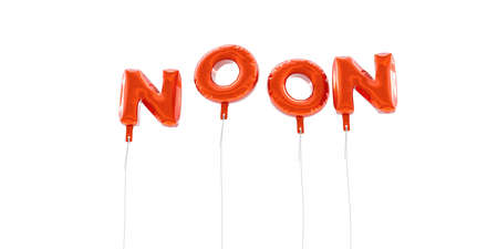 NOON - word made from red foil balloons - 3D rendered.  Can be used for an online banner ad or a print postcard.