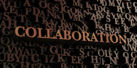 letterpress words: Collaboration - Wooden 3D rendered lettersmessage.  Can be used for an online banner ad or a print postcard. Stock Photo