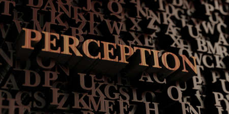 Perception - Wooden 3D rendered lettersmessage.  Can be used for an online banner ad or a print postcard.