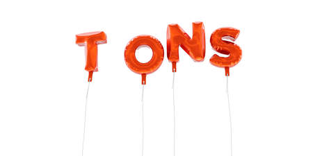 TONS - word made from red foil balloons - 3D rendered.  Can be used for an online banner ad or a print postcard. Stock Photo