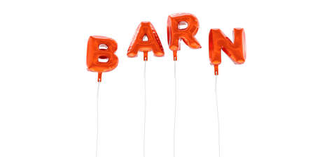 BARN - word made from red foil balloons - 3D rendered.  Can be used for an online banner ad or a print postcard.