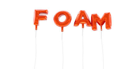 FOAM - word made from red foil balloons - 3D rendered.  Can be used for an online banner ad or a print postcard.
