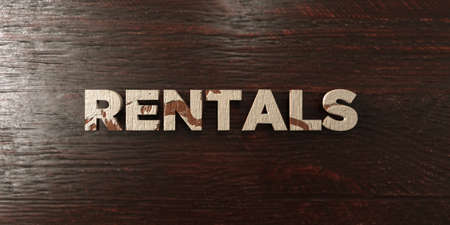 rentals: Rentals - grungy wooden headline on Maple  - 3D rendered royalty free stock image. This image can be used for an online website banner ad or a print postcard.