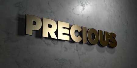 Precious - Gold sign mounted on glossy marble wall  - 3D rendered royalty free stock illustration. This image can be used for an online website banner ad or a print postcard. Stock Photo