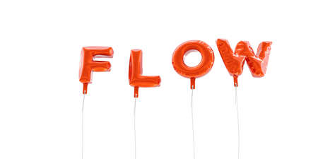 FLOW - word made from red foil balloons - 3D rendered.  Can be used for an online banner ad or a print postcard. Stock Photo