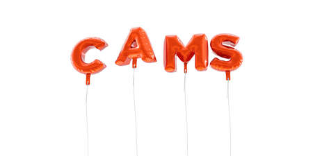 cams: CAMS - word made from red foil balloons - 3D rendered.  Can be used for an online banner ad or a print postcard.