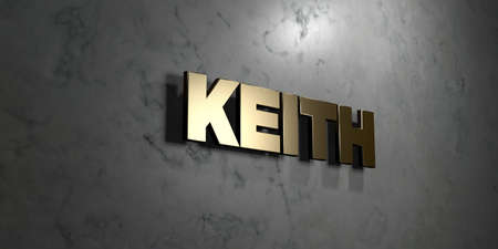 keith: Keith - Gold sign mounted on glossy marble wall  - 3D rendered royalty free stock illustration. This image can be used for an online website banner ad or a print postcard.