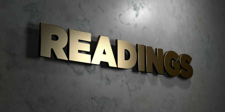 Readings - Gold sign mounted on glossy marble wall  - 3D rendered royalty free stock illustration. This image can be used for an online website banner ad or a print postcard.