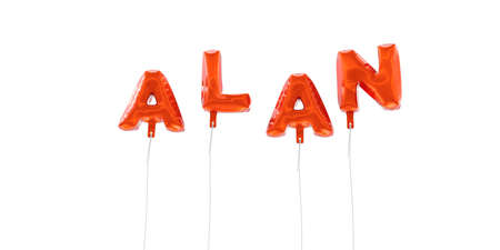 ALAN - word made from red foil balloons - 3D rendered.  Can be used for an online banner ad or a print postcard.