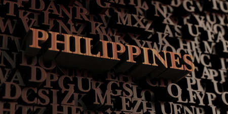 Philippines - Wooden 3D rendered lettersmessage.  Can be used for an online banner ad or a print postcard.