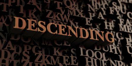 descending: Descending - Wooden 3D rendered lettersmessage.  Can be used for an online banner ad or a print postcard.