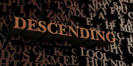 Descending - Wooden 3D rendered lettersmessage.  Can be used for an online banner ad or a print postcard.