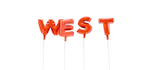 WEST - word made from red foil balloons - 3D rendered.  Can be used for an online banner ad or a print postcard.