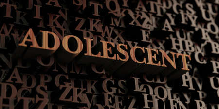 adolescent: Adolescent - Wooden 3D rendered lettersmessage.  Can be used for an online banner ad or a print postcard.