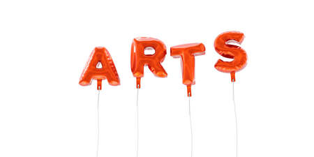 ARTS - word made from red foil balloons - 3D rendered.  Can be used for an online banner ad or a print postcard.
