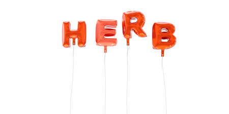 HERB - word made from red foil balloons - 3D rendered.  Can be used for an online banner ad or a print postcard.