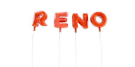 reno: RENO - word made from red foil balloons - 3D rendered.  Can be used for an online banner ad or a print postcard.