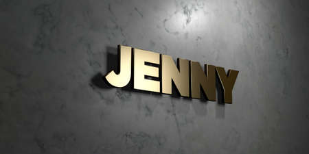 jenny: Jenny - Gold sign mounted on glossy marble wall  - 3D rendered royalty free stock illustration. This image can be used for an online website banner ad or a print postcard.