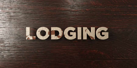 Lodging - grungy wooden headline on Maple  - 3D rendered royalty free stock image. This image can be used for an online website banner ad or a print postcard. Stock Photo