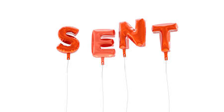 SENT - word made from red foil balloons - 3D rendered.  Can be used for an online banner ad or a print postcard.