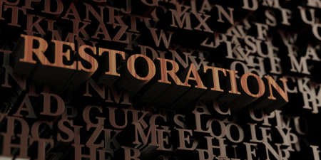 Restoration - Wooden 3D rendered letters/message.  Can be used for an online banner ad or a print postcard.