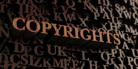 copyrights: Copyrights - Wooden 3D rendered lettersmessage.  Can be used for an online banner ad or a print postcard.