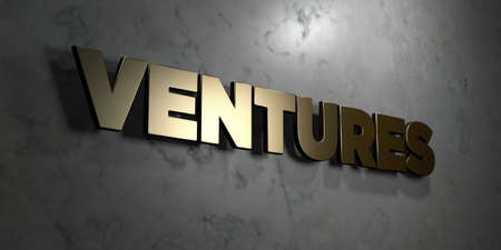 ventures: Ventures - Gold sign mounted on glossy marble wall  - 3D rendered royalty free stock illustration. This image can be used for an online website banner ad or a print postcard.