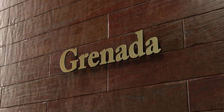 Grenada - Bronze plaque mounted on maple wood wall  - 3D rendered royalty free stock picture. This image can be used for an online website banner ad or a print postcard. Stock Photo
