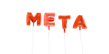meta: META - word made from red foil balloons - 3D rendered.  Can be used for an online banner ad or a print postcard.
