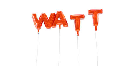WATT - word made from red foil balloons - 3D rendered.  Can be used for an online banner ad or a print postcard.