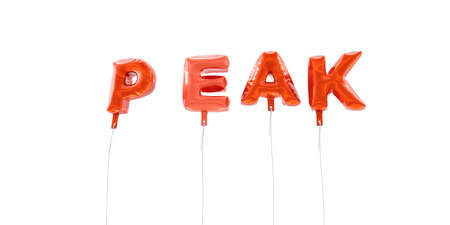 PEAK - word made from red foil balloons - 3D rendered.  Can be used for an online banner ad or a print postcard.