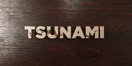 Tsunami - grungy wooden headline on Maple  - 3D rendered royalty free stock image. This image can be used for an online website banner ad or a print postcard.