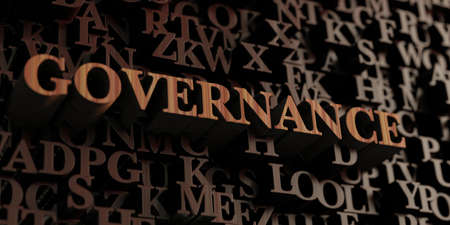 Governance - Wooden 3D rendered lettersmessage.  Can be used for an online banner ad or a print postcard. Stok Fotoğraf
