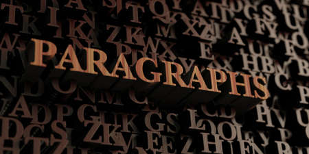 paragraphs: Paragraphs - Wooden 3D rendered lettersmessage.  Can be used for an online banner ad or a print postcard.