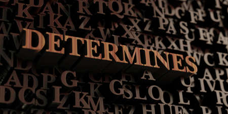 determines: Determines - Wooden 3D rendered lettersmessage.  Can be used for an online banner ad or a print postcard.