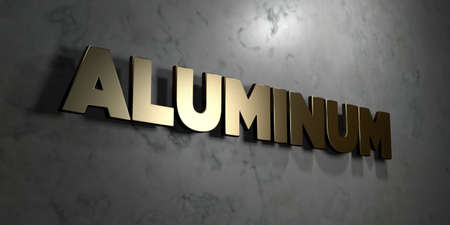 aluminum: Aluminum - Gold sign mounted on glossy marble wall  - 3D rendered royalty free stock illustration. This image can be used for an online website banner ad or a print postcard. Stock Photo