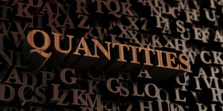 quantities: Quantities - Wooden 3D rendered lettersmessage.  Can be used for an online banner ad or a print postcard.