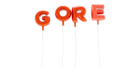 gore: GORE - word made from red foil balloons - 3D rendered.  Can be used for an online banner ad or a print postcard.