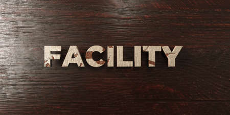 Facility - grungy wooden headline on Maple  - 3D rendered royalty free stock image. This image can be used for an online website banner ad or a print postcard.