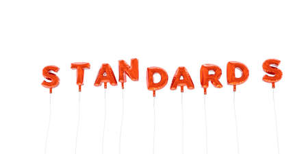 STANDARDS - word made from red foil balloons - 3D rendered.  Can be used for an online banner ad or a print postcard. Stock Photo